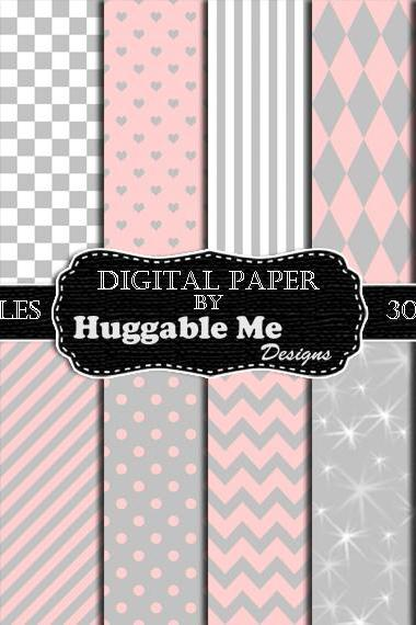 Digital Download Pink and Grey Pattern Paper for Wedding, Scrapbook, Backgrounds, Cards 12x12 - HMD00100