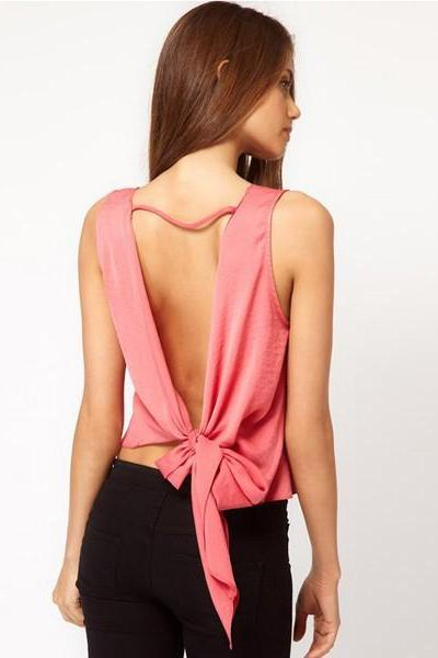 Chiffon Backless Tank Tops Blouses