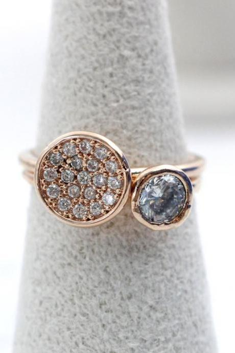 Round cubic zirconia stones 2 Set Layering Ring in rose gold