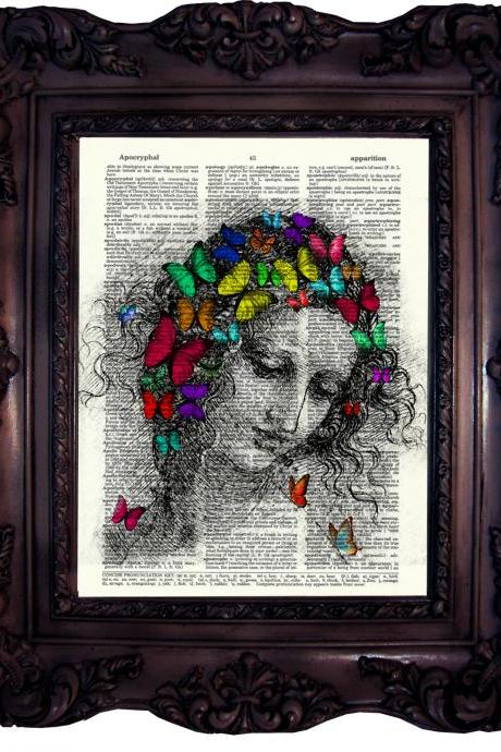 Butterfly Art. Leonardo da Vinci. Dictionary art print. Vintage Art Print on Book Page. Beautiful lady. Dictionary print. Code:148