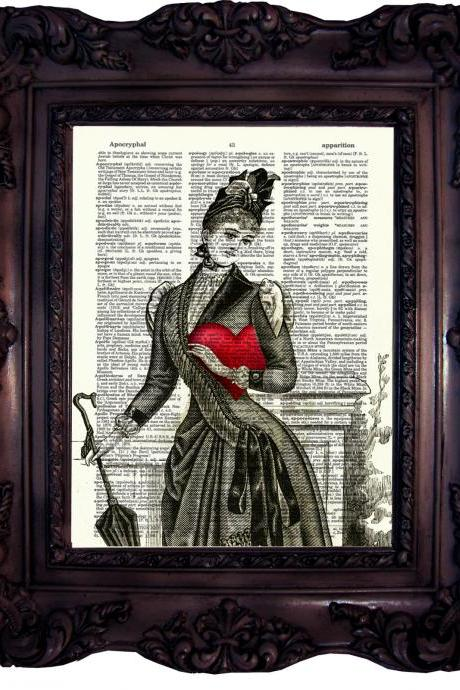 Victorian Lady Heart. Dictionary art print. Vintage Art Print on Book Page. Dictionary print. Steampunk decor Ghotic print Code:203