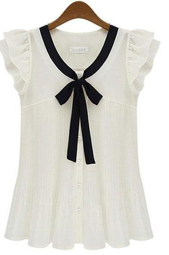 Fashion Elegant Bow Short sleeve Chiffon OL Shirt