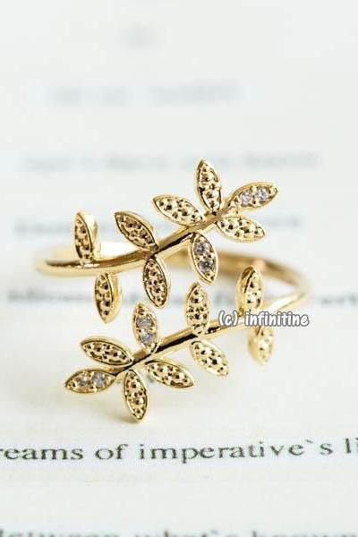 Gold Double leaf branch adjustable ring,RN2588