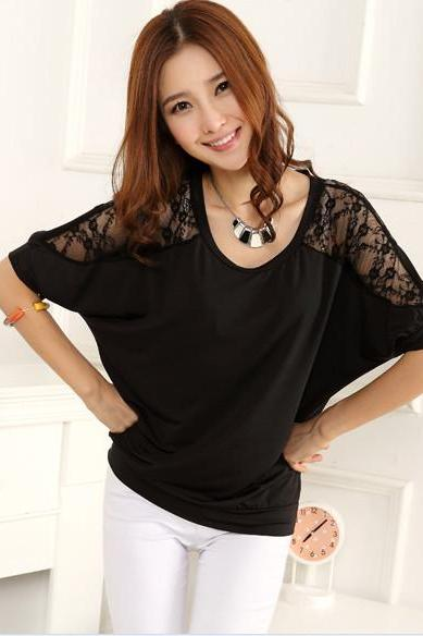 Adorable Luxury Lace Sleeve Detail Black Top