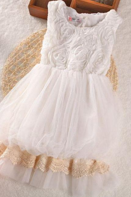 White Classic Dress for Flower Girls
