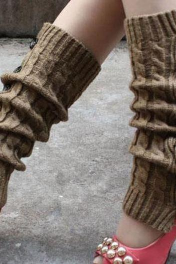 Free Shipping KHAKI Leg Warmers-KHAKI Knitted leg Warmers-Winter Body Accessories for Women
