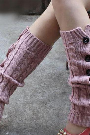 Free Shipping PINK Leg Warmers-PINK Knitted leg Warmers-Winter Body Accessories for Women