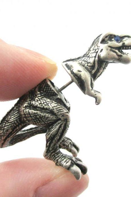Unique Fake Gauge 3D Tyrannosaurus Rex Dinosaur Shaped Animal Stud Earring in Silver | Sold Per Piece