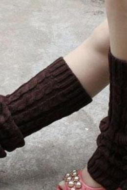 HOT Brown Leg Warmers-KHAKI Knitted leg Warmers-Long Leg Warmers