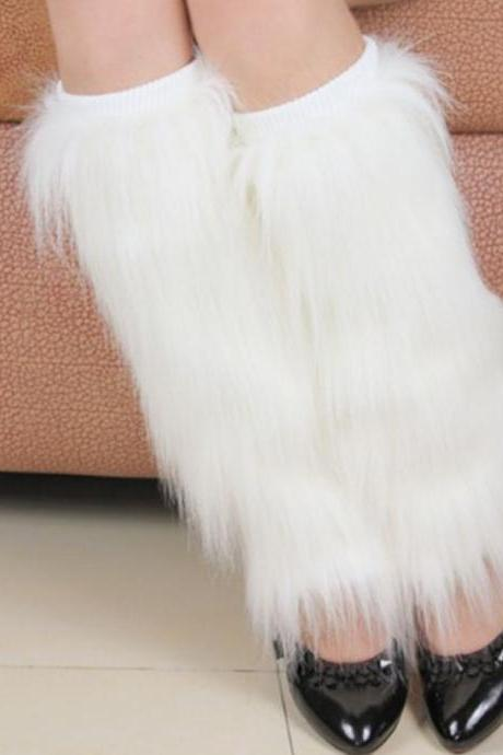 White Fur Leg Warmer-40cm High Shoe Boots Cover Faux Fur Women Leg Warmer