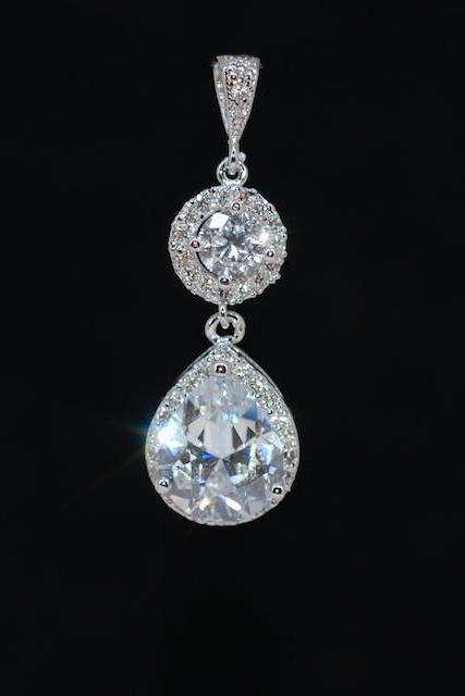 Cubic Zirconia Round Pendant with Micropave Cubic Zirconia Teardrop (P058)