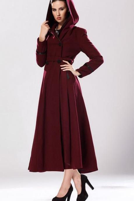 Red Riding Hood Burgundy Color Coatw ith Hood Ultra Long Wool Coat for Women