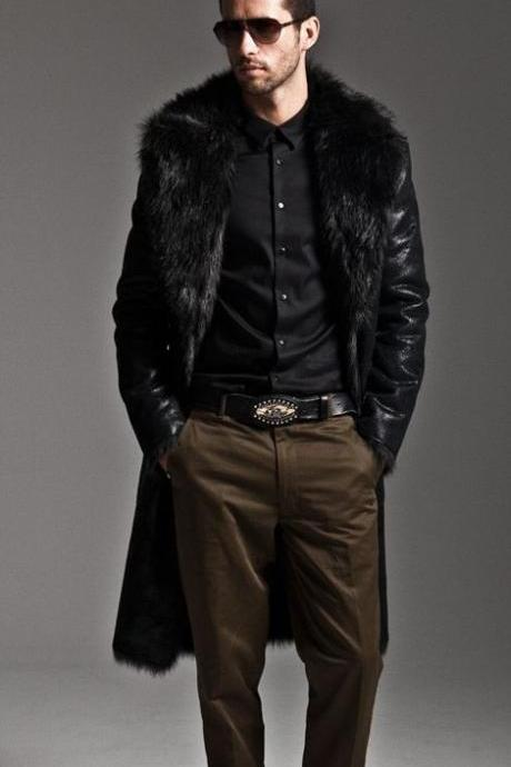 Black Winter Ultra Long Coat for Men Luxury Fur Lining Back to Back Black Jacket Coats