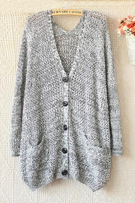 V-Neck Long Sleeve Knit Sweater Cardigan