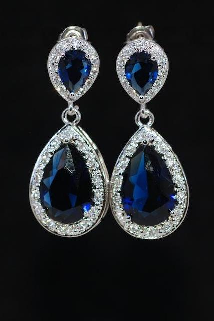Wedding Earrings, Bridesmaid Earrings, Bridal Jewelry - Cubic Zirconia Detailed Sapphire Blue Teardrop Earring (E702)