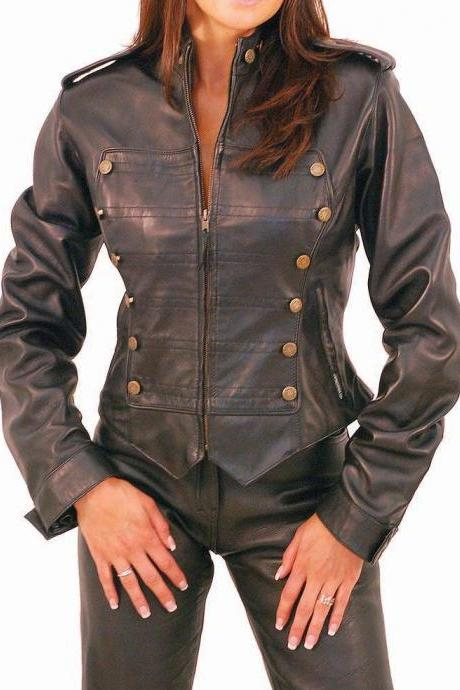 Military Leather Jacket for Women, handmade ladies jacket military style