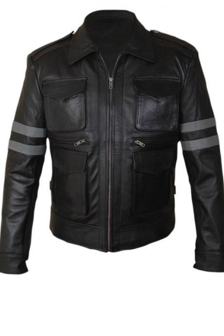 Men's Leather Jacket Resident Evil 6 Black Leather Jacket.