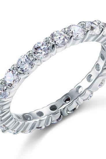 Dazzling White Round Cut Solid 925 Sterling Silver Wedding Eternity Ring - sizes 6, 7, 8