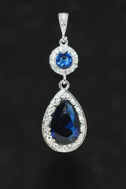 Cubic Zirconia Detailed Sapphire Blue Round Pendant with Sapphire Blue Teardrop (P073)