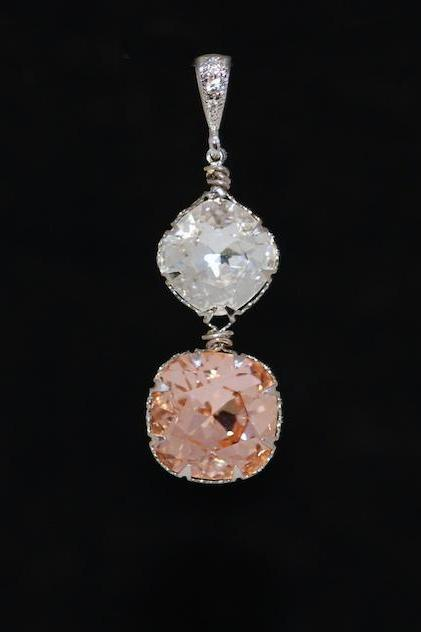 CZ Detailed Pendant with Swarovski Clear and Light Peach Cushion Cut Crystals - Wedding Jewelry, Bridal Jewelery (P064)