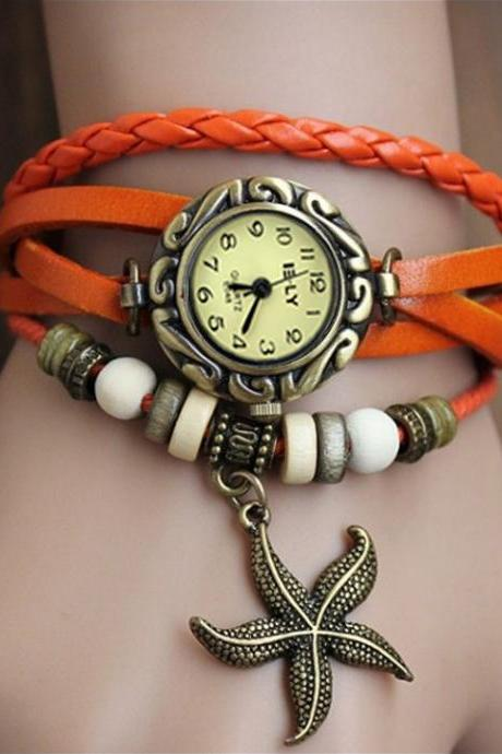 Stylish Quartz Weave Wrap Synthetic Starfish Leather Bracelet Women's Wrist Watch