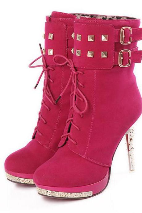 Sexy Lace Up Rivets High Heels Suede Fashion Boots