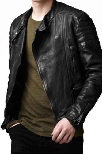 MEN BLACK BIKER LEATHER JACKET, REAL LEATHER JACKET