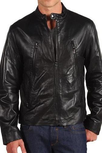 MEN LEATHER JACKET BLACK , black leather jacket men's