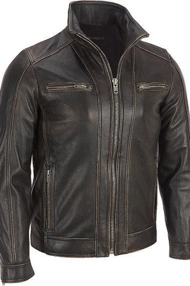 Men Dark Brown Leather Jacket, biker leather jacket men's
