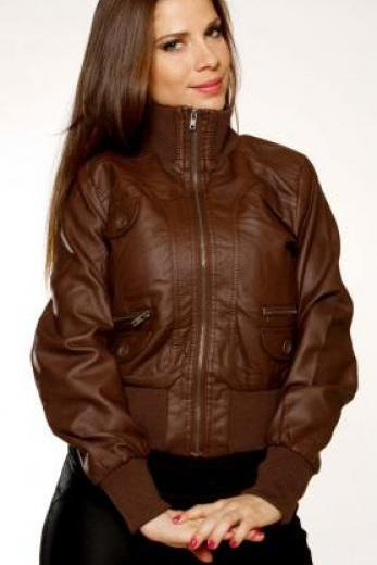Women Classic Brown Rib cuff Leather Jacket