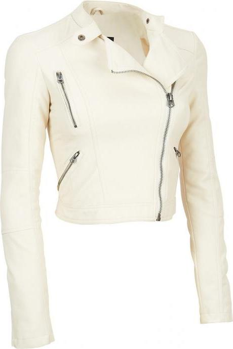 Women White Short Neck Strap Stylish Leather Biker Jacket