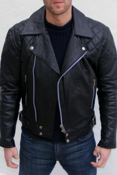 Mens black brando jacket, men's quilted leather jacket