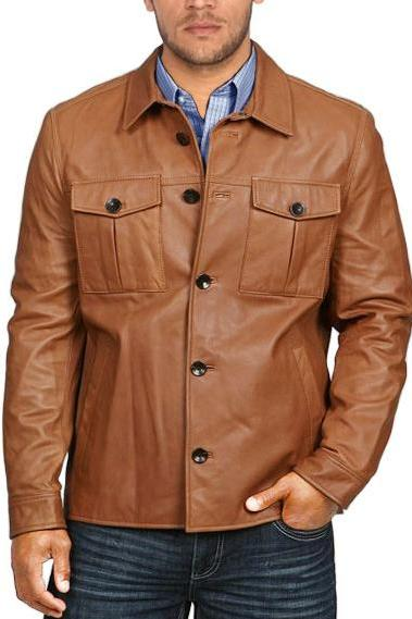Long Sleeve Leather Shirt, mens shirt in real leather,Stylish brown Leather Shirt