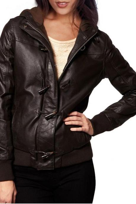 Hooded Leather Jacket for Women, brown hooded jacket, leather jacket womens