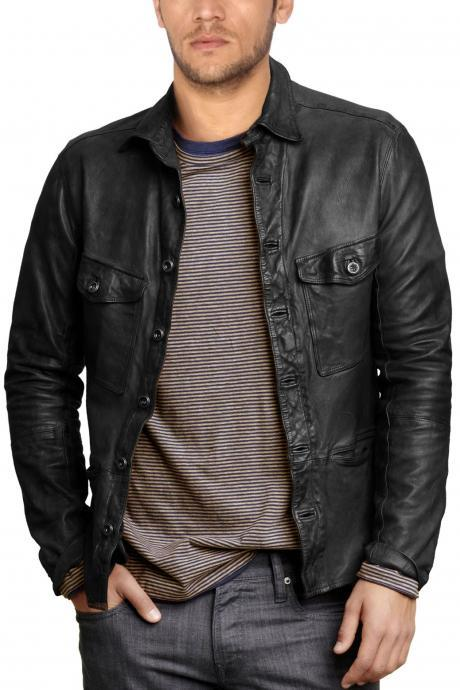 Trendy Leather Shirt for Men, shirt for men, real leather shirt