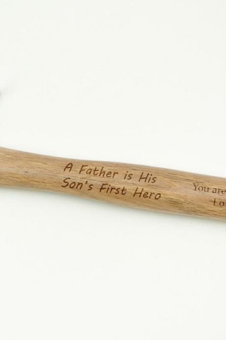 A Father is his Son's First Hero - You are the best dad! Message engraved hammer with name Personalized gift for Fathers Day