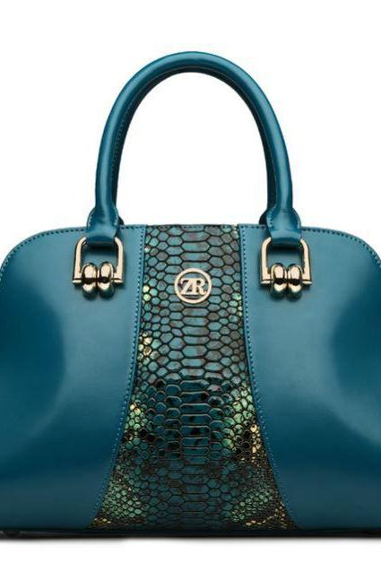 Teal Genuine Leather Real Genuine Bags Teal Blue Snake Pattern Shoulder Bags