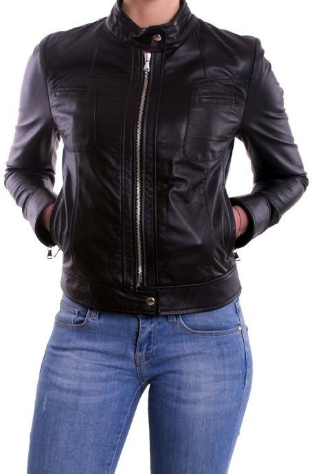 Women's leather jacket, Biker leather jacket womens