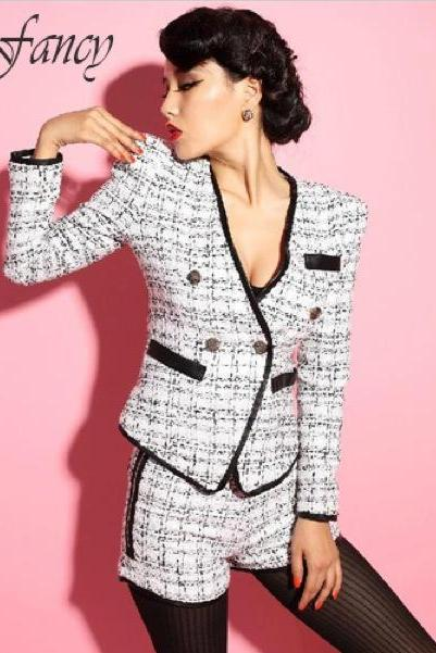 Tweed Blazer Jacket and Shorts SET Woolen Plaid Vintage Elegant Chic Style Suit Clothing white ladies female women