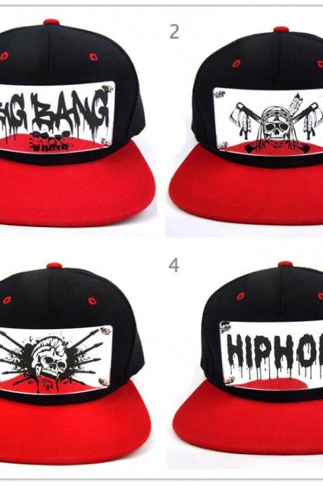 HOT Acrylic Silver mirror HipHop graffiti design caps / Spike Studs snapback Hat/ bigbang rap hat / chief cap can custom