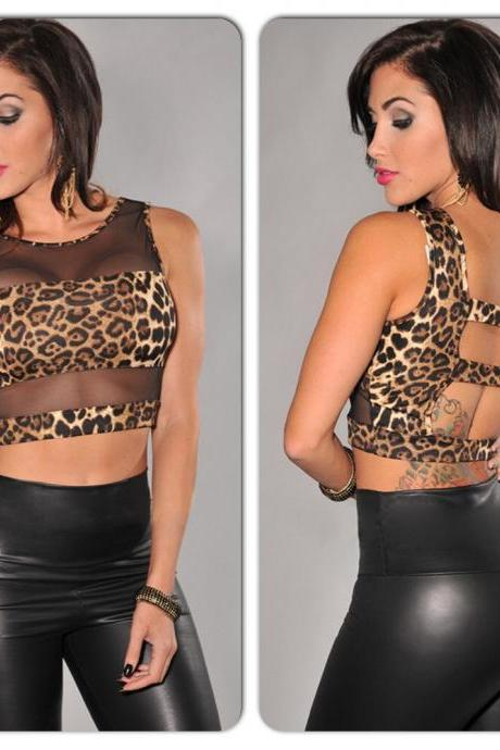 Sexy Black Leopard Animal Print Cut Out Open Back Mesh Short Sleeve Tank Shirt Top