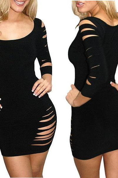 Sexy Black Slashed Destroyed Ripped Open Cut Out Bodycon Mini Club Dress