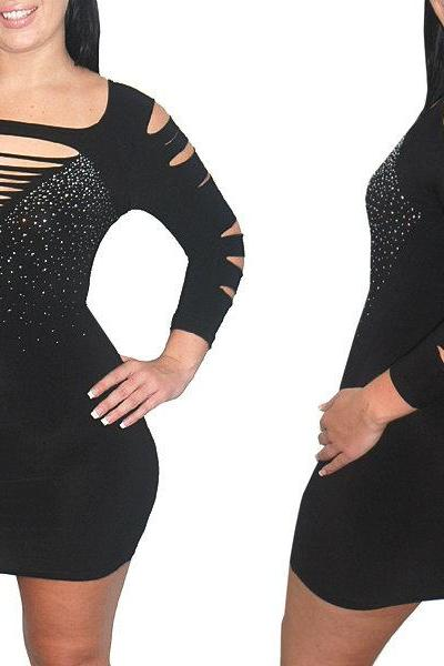 Sexy Black Slashed Destroyed Ripped Open Cut Out Rhinestone Bodycon Mini Club Dress Plus Size