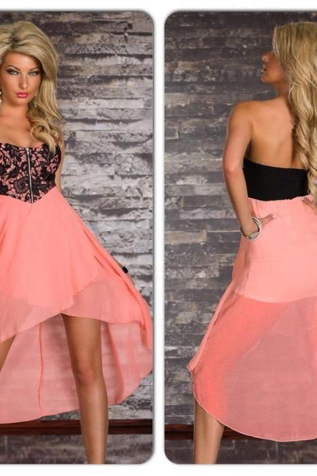 Sexy Black Pink Lace Overlay Hi Low Dress