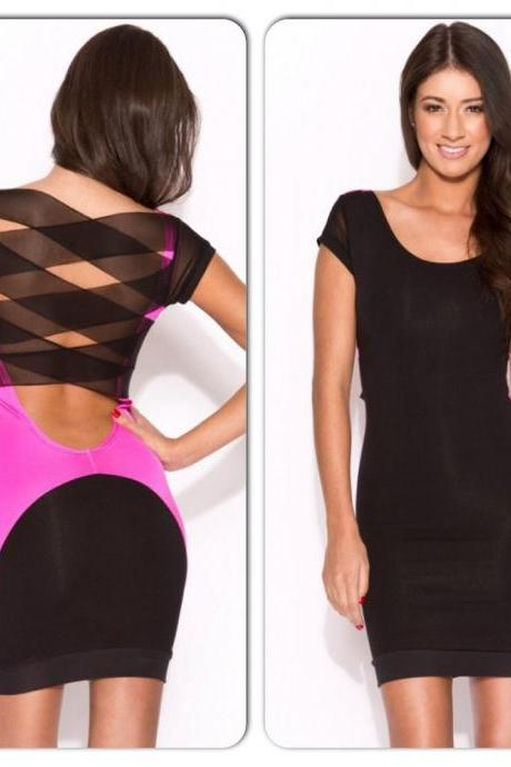 Sexy Pink Black Bodycon Criss Cross Back Dress
