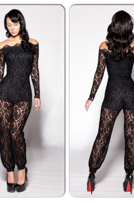 Sexy Black Off Shoulder Lace Pants Romper Jumpsuit