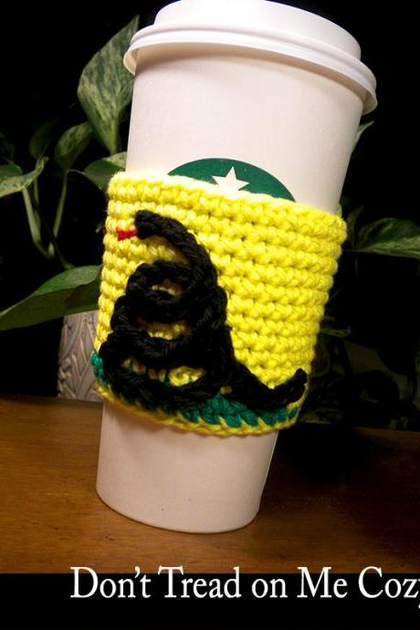 Don't Tread on Me Coffee Cozy Crochet Pattern