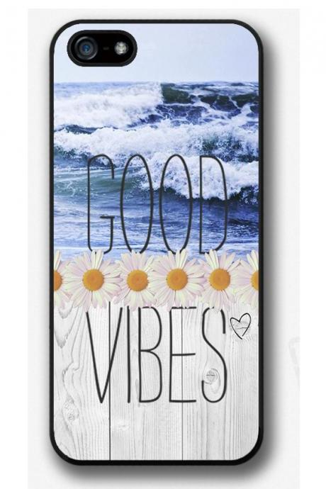 iPhone 4 4S 5 5S 5C case, iPhone 4 4S 5 5S 5C cover, Good vibes, Daisy, Ocean, Sea, Waves