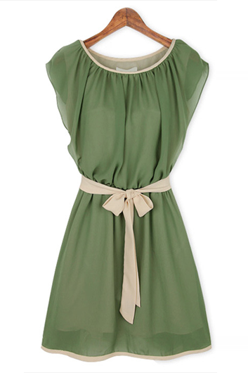 Hot Sale Round Neck Cap Sleeve Dress for Woman - Green