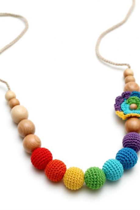 Crochet Rainbow Juniper Nursing Necklace with rainbow crochet flower - Woldorf toy Spring accessory